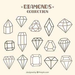 各种手工绘制的宝石