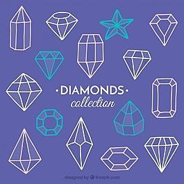 手工绘制几何宝石收藏