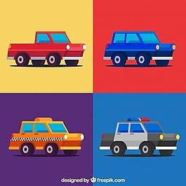 平板设计中的彩色车