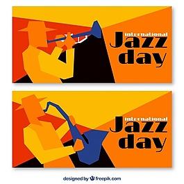 彩色几何爵士乐横幅