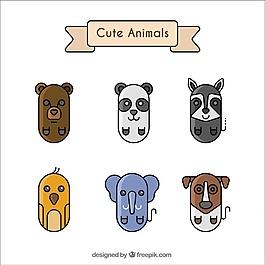 六只可愛動物的幾何集合