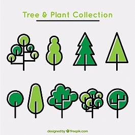 線性模式的樹木和植物