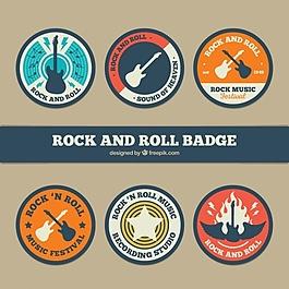 六个圆形的摇滚徽章