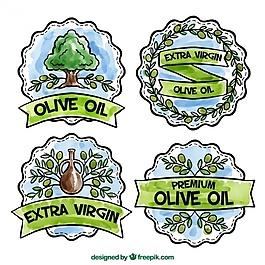 幾種幾何橄欖油水彩貼紙