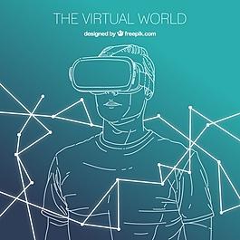 男孩素描背景与虚拟现实眼镜