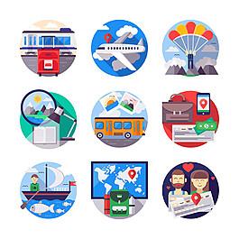 扁平化旅游图标图片