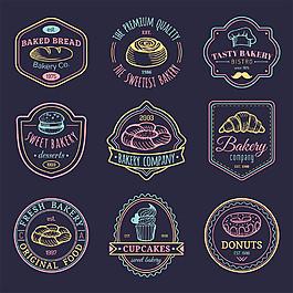彩色手繪面包標志圖片