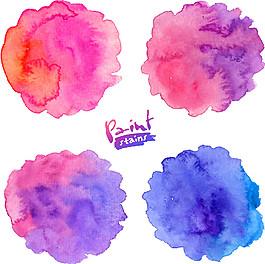 藍色和紫色暈染水墨圖片