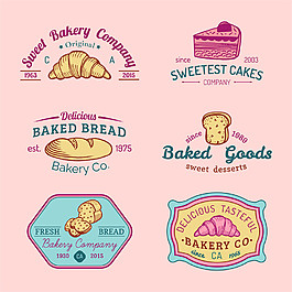 手繪彩色面包英文標志圖片