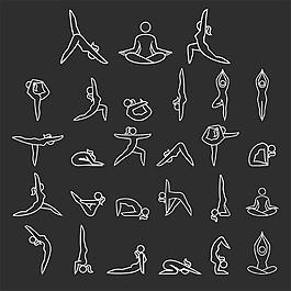 瑜伽线条图标图片