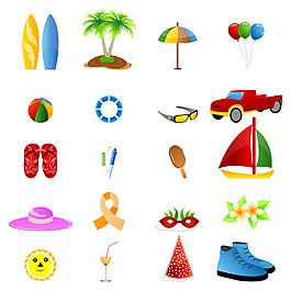 夏日旅游卡通图标图片