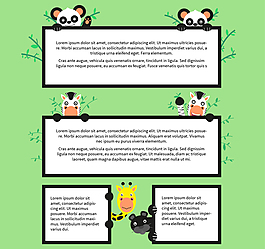 可愛動物框架矢量