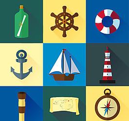 卡通航海元素圖標矢量