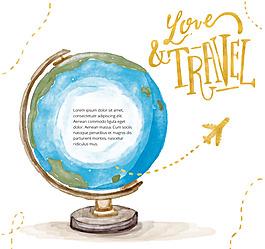 彩繪地球儀旅行插畫矢量