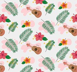 热带植物和尤克里里无缝背景矢量