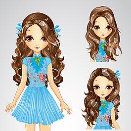 可愛的藍裙少女