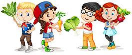 手拿蔬菜的孩子