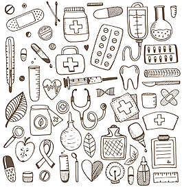 涂鴉醫療用品背景