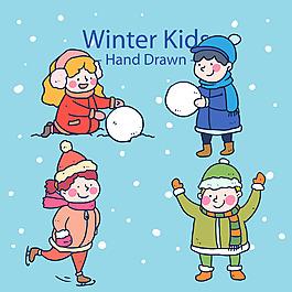 玩雪的孩子