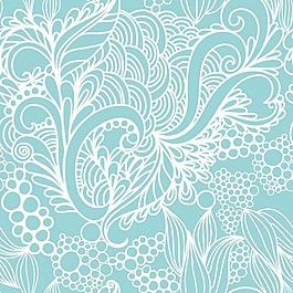 清新藍色花紋