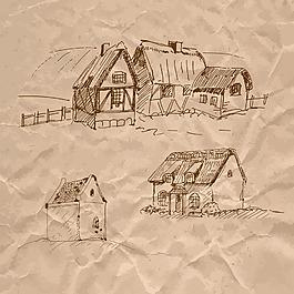 手绘房子建筑