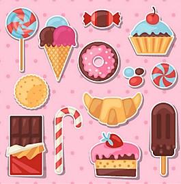 粉色甜点矢量图