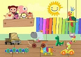 可爱儿童玩具矢量图