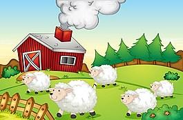 綠色農場小羊背景圖