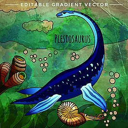 海中侏罗纪卡通恐龙矢量素材