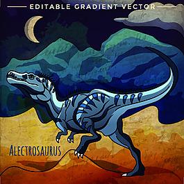 藍色 侏羅紀卡通恐龍矢量素材