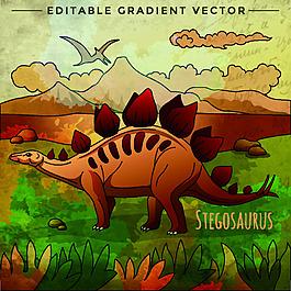 侏罗纪卡通恐龙矢量素材