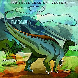 插畫侏羅紀卡通恐龍矢量素材