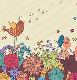 手绘鲜花背景图