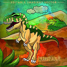 綠色霸王龍侏羅紀卡通恐龍矢量素材