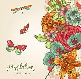 漂亮手绘鲜花背景图