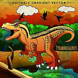 霸王龍侏羅紀卡通恐龍矢量素材