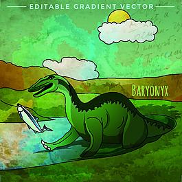 綠色侏羅紀卡通恐龍矢量素材