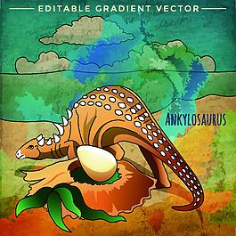 劍齒龍侏羅紀卡通恐龍矢量素材