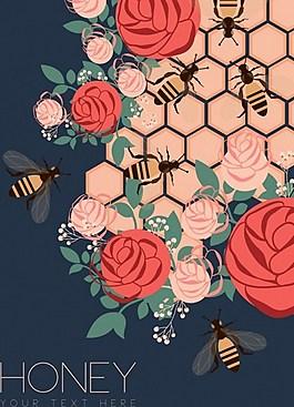 漂亮鲜花蜜蜂背景图
