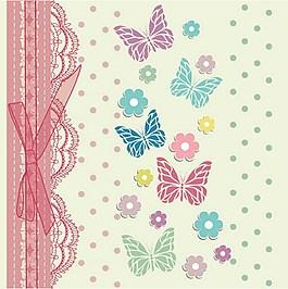 彩色漂亮蝴蝶鲜花背景图