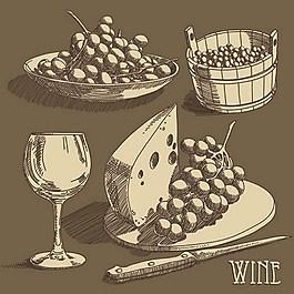 手繪西式美食與紅酒矢量圖