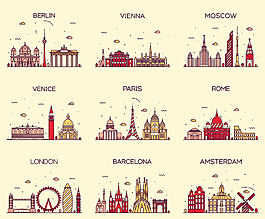 城市景點矢量素材背景