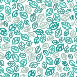 手绘绿色叶子无缝背景图