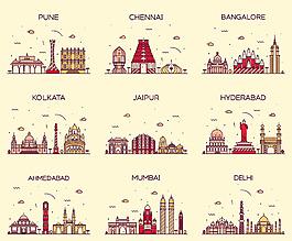 多種卡通復古城市旅游景點矢量素材背景