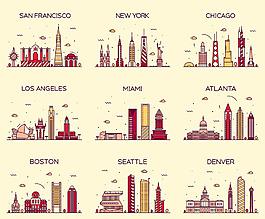 各國卡通復古城市景點矢量素材背景