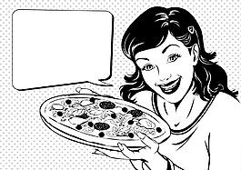 黑白动漫欧美女性对话矢量素材
