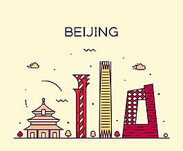 卡通復古城市景點矢量素材背景