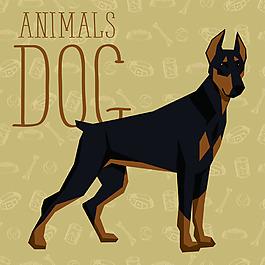 黑色大狗卡通狗狗宠物展示矢量素材