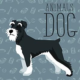 小卡通狗狗宠物展示矢量素材