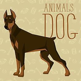 咖啡卡通狗狗宠物展示矢量素材